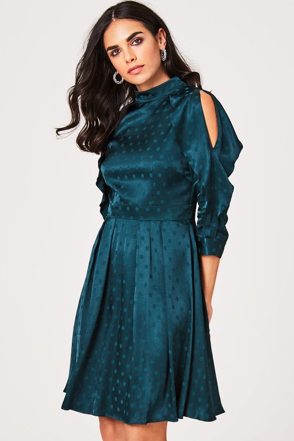 Little Mistress Tasmin Green Polka-Dot Cold-Shoulder Dress