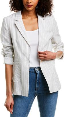 Harper Rose Pinstripe Linen-Blend Blazer
