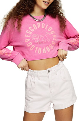 Topshop Escapology Long Sleeve Crop Graphic Tee