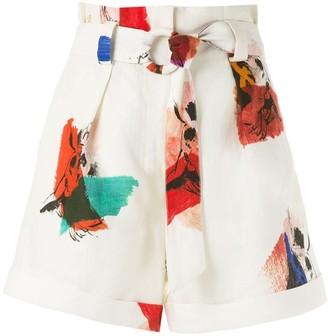 Andrea Marques Paperbag Waist Print Shorts