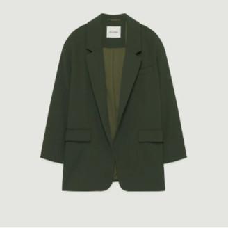 American Vintage Khaki Polyester Long Sleeves Didaboo Tailored Jacket - polyester | khaki | small - Khaki