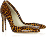 Printed patent leather pumps