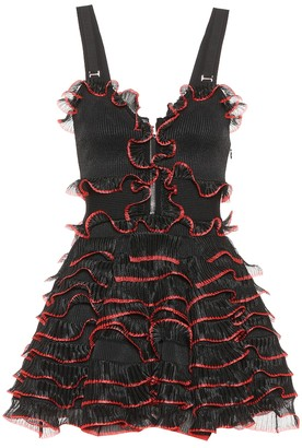 Alexander McQueen Piped ruffle zip dress