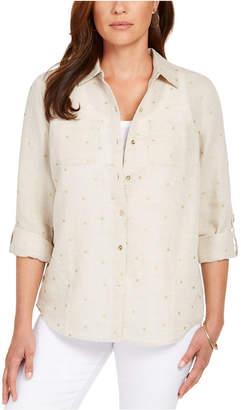 Charter Club Petite Linen Foiled-Dot Shirt
