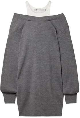 Alexander Wang Off-the-shoulder Layered Ribbed Merino Wool-blend And Cotton Mini Dress