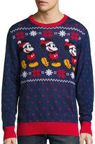 NOVELTY SEASON Novelty Season Crew Neck Long Sleeve Mickey and Friends Cotton Blend Pullover Sweater