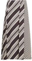 Joseph Carey Diagonal-stripe Silk-twill Midi Skirt - Womens - Black White