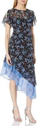 Nanette Lepore Women's Desdemona Flutter Silk Print Asymetrical midi Dress