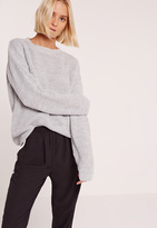 Missguided Grey Waffle Knit Crew Neck Sweater