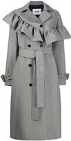 MSGM ruffled houndstooth coat