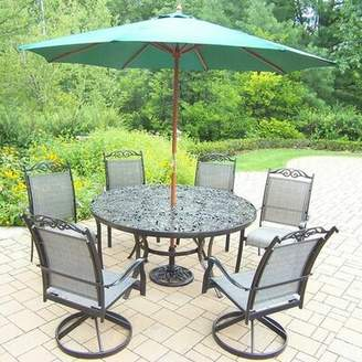 Basile August Grove 7 Piece Dining Set August Grove Color: Black, Umbrella Color: Green