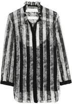 Nina Ricci Ruffle-Trimmed Striped Chantilly Lace Blouse