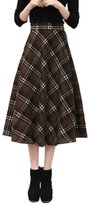 Cityelf Women's Autumn Winter Retro Lattice Stretch Wool Warm Long Midi Skirt Q0087