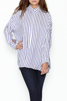 Olivaceous Boyfriend Striped Shirt