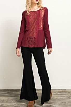 Hem & Thread Crimson Lacey Top