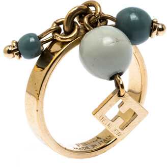 Fendi Green Beads Gold Tone Charm Ring Size 56