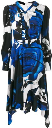 Alexander McQueen Rose Print Draped Dress