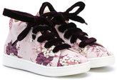 MonnaLisa floral print hi-tops - kids - Cotton/Leather/rubber - 24