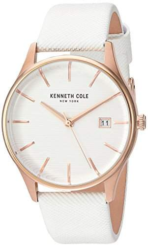 Kenneth Cole New York Women's 'Classic' Quartz Stainless Steel and Leather Dress Watch, Color:White (Model: KC15109002)