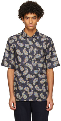 Salvatore Ferragamo Navy Almond Paisley Sport Short Sleeve Shirt