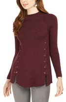 Style&Co. Style & Co Mock Neck Lace-Up Ribbed Knit Sweater, Created for Macy's