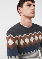 MANGO MAN Jacquard Wool Sweater