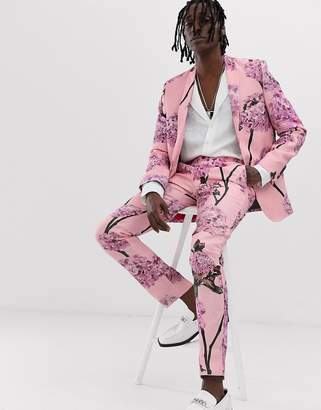 Twisted Tailor skinny linen suit trouser with floral print-Pink