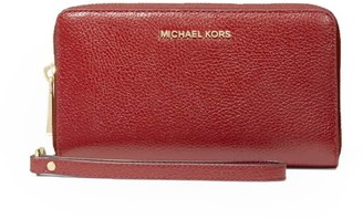 Michael Kors Jet Set Large Phone Case Brick Red Wallet