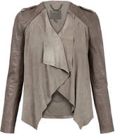 Muu Baa Muubaa Lupus Taupe Draped Suede and Leather Jacket