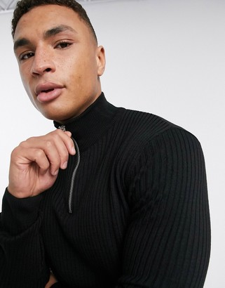 New Look muscle fit half zip neck jumper in black
