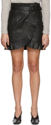 Etoile Isabel Marant Black Leather Qing Miniskirt