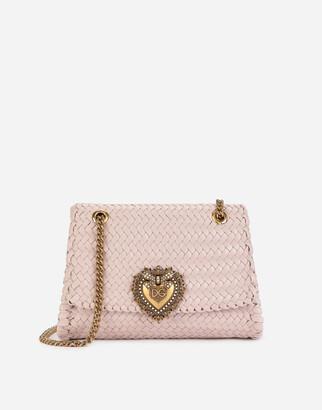 Dolce & Gabbana Large Devotion Shoulder Bag In Woven Nappa Leather