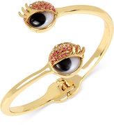 Betsey Johnson Gold-Tone Pink Pavé Googly Eyes Bypass Bracelet