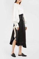 Awake Faux Leather Ruffled Skirt