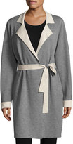 Neiman Marcus Double-Faced Belted Cardigan, Dark Smoke/Candied Mousse