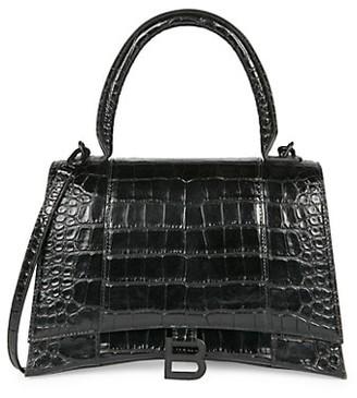 Balenciaga Hourglass Croc-Embossed Leather Top Handle Bag