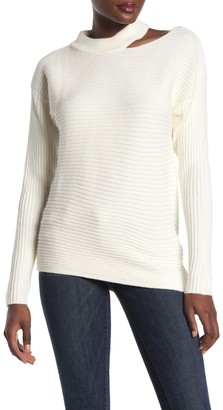 Dee Elly Cutout Shoulder Ribbed Knit Sweater