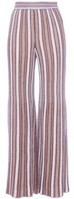 M Missoni Pleated Striped Metallic Crochet-knit Wide-leg Pants