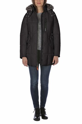 Nautica Women's Puffer with Faux Fur Lined Hood