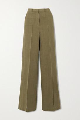 LOULOU STUDIO Reao Pleated Linen Wide-leg Pants - Green