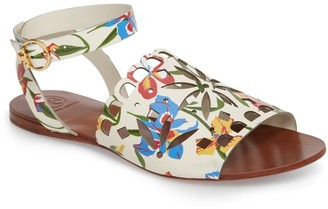 Tory Burch May Printed Floral Ankle Strap Sandal