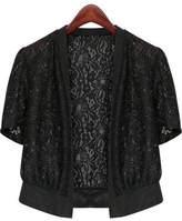Fashion Showcase Women's Plus Size Short Sleeve Lace Splicing Front Open Bolero Shrug Tops (5XL, )
