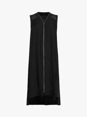 AllSaints Lottie Zip Front Sheer Shoulder Midi Dress