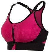 Lanbaosi Women's Removable Pads Front Zipper Racerback Workout Yoga Sports Bra L