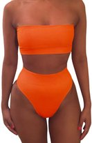 Pink Queen Women's Strapless No Pad High Waist Bikini Set Swimsuit Grey m