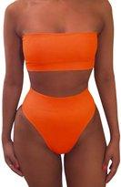 Pink Queen Women's Strapless No Pad High Waist Bikini Set Swimsuit m