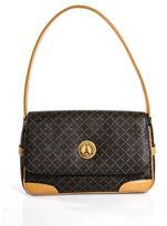 Eiffel Dark Brown Light Brown Leather Monogram Small Shoulder Handbag