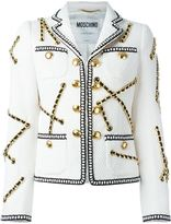 Moschino chain embellished jacket - women - Cotton/Polyester/Rayon/Other fibres - 42