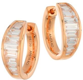 Anita Ko 18K Rose Gold & Diamond Baguette Graduated Hoop Earrings