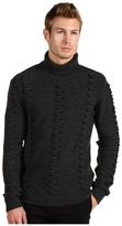 Versace Turtleneck Sweater with Zig Zag Detail (Charcoal) - Apparel